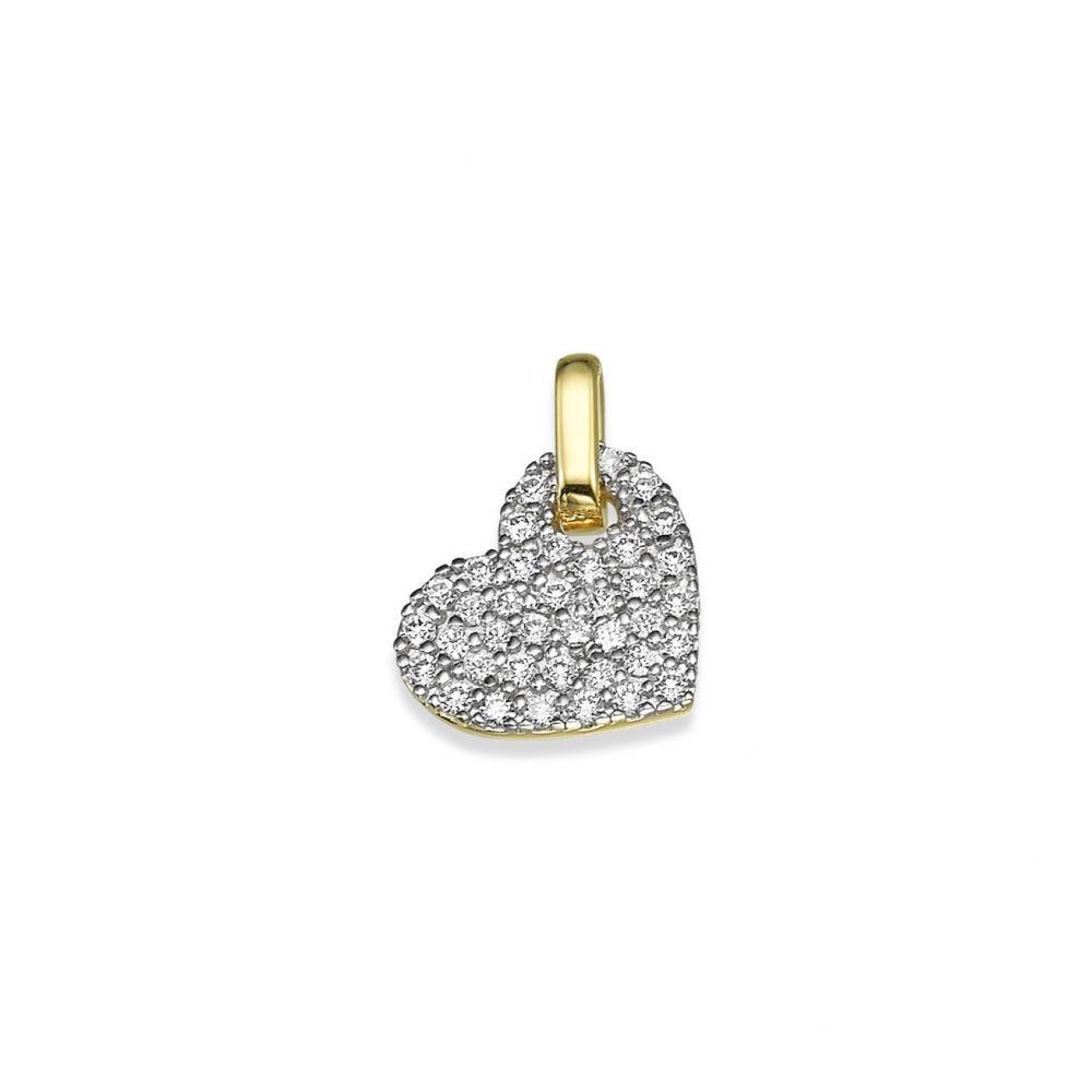 תכשיטי זהב לנשים | תליון מזהב צהוב - לב זירקונים