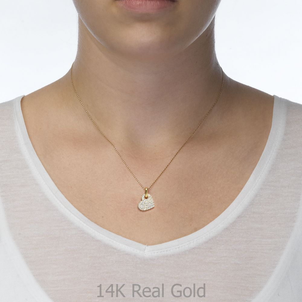 תכשיטי זהב לנשים | תליון מזהב לבן - לב זירקונים