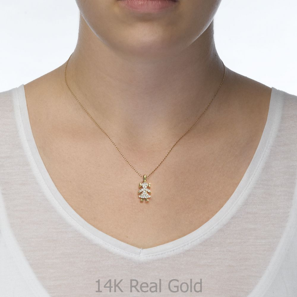 תכשיטי זהב לנשים | תליון מזהב לבן  14 קראט - גו-גירל