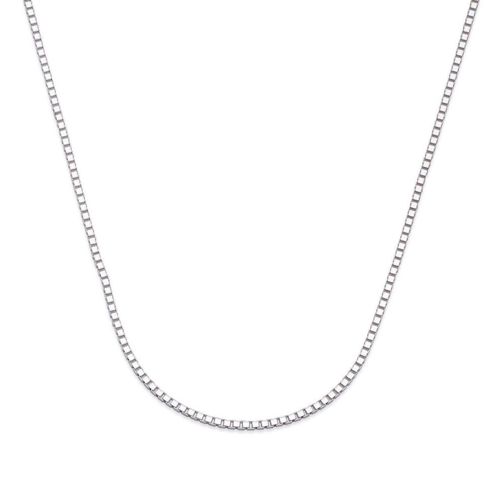 שרשראות זהב | שרשרת ונציה זהב לבן 14 קראט, 0.8 מ
