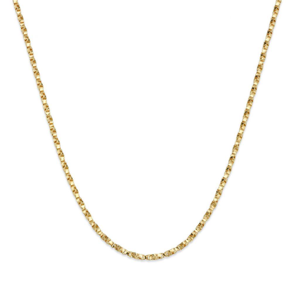 שרשראות זהב | שרשרת מסובבת זהב צהוב 14 קראט, 1 מ