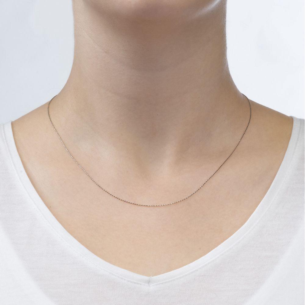 שרשראות זהב   שרשרת מסובבת זהב לבן 14 קראט, 0.6 מ
