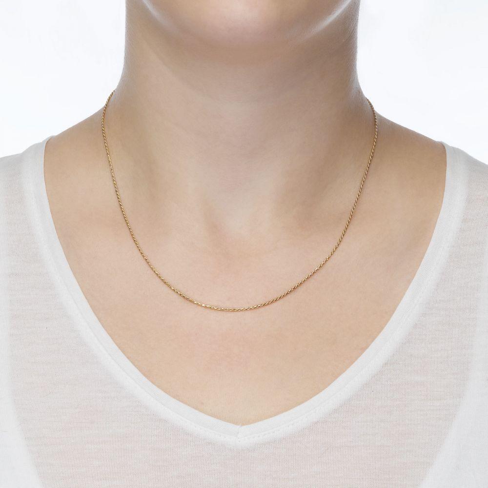 שרשראות זהב | שרשרת חבל זהב צהוב 14 קראט, 1 מ