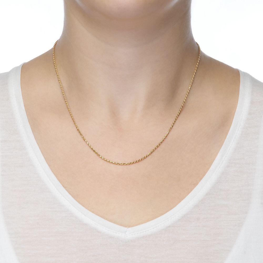 שרשראות זהב | שרשרת חבל זהב צהוב 14 קראט, 1.4 מ