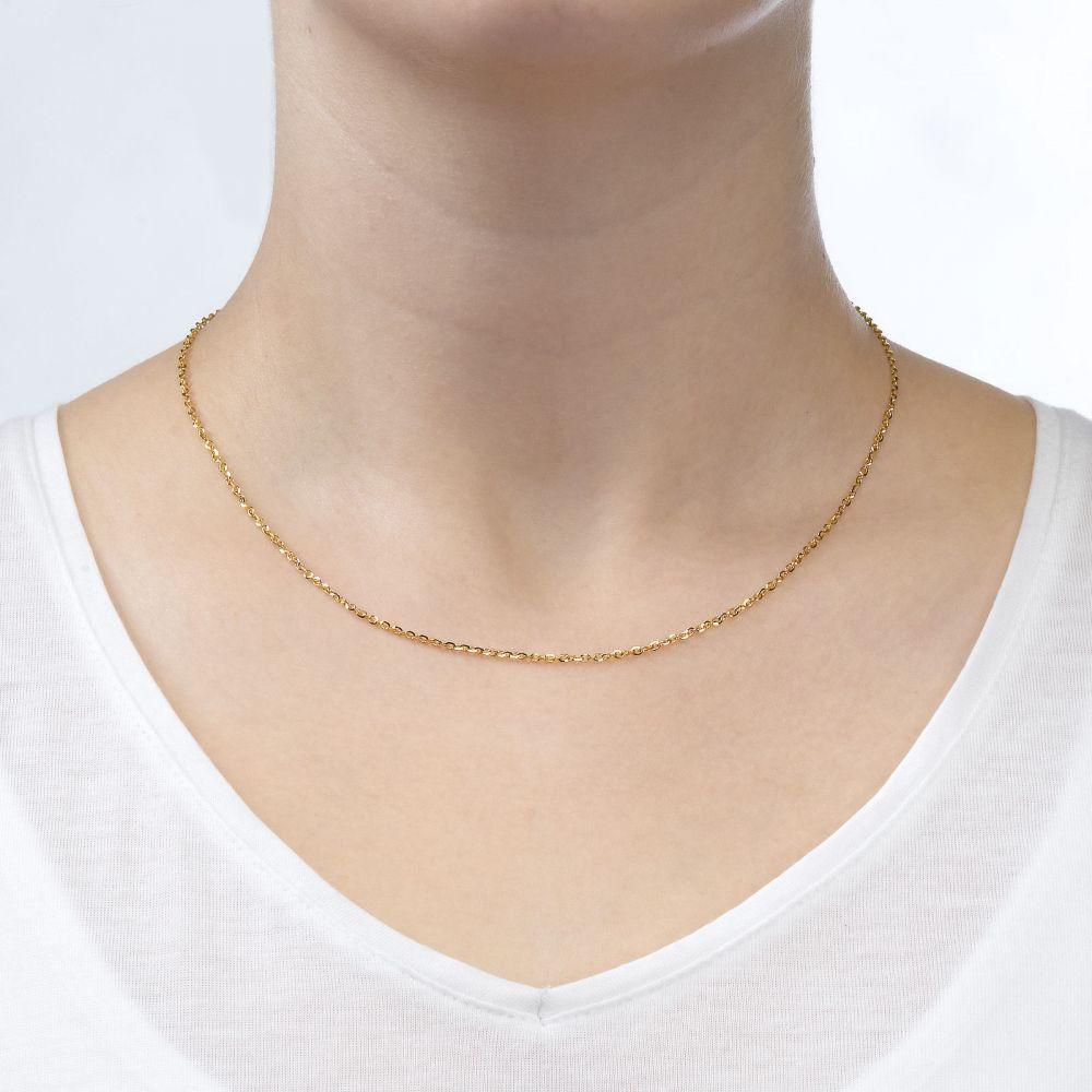 שרשראות זהב | שרשרת רולו זהב צהוב 14 קראט, 1.6 מ