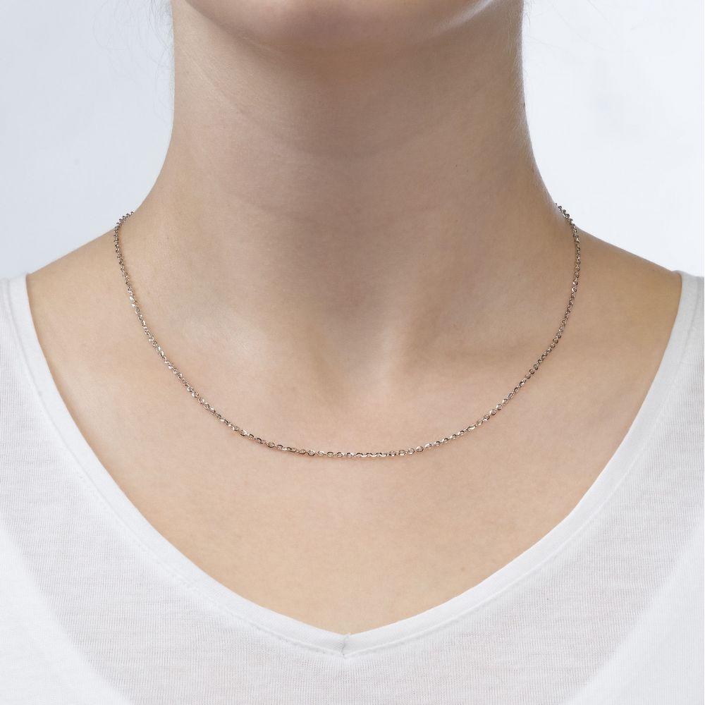 שרשראות זהב | שרשרת רולו זהב לבן 14 קראט, 1.6 מ