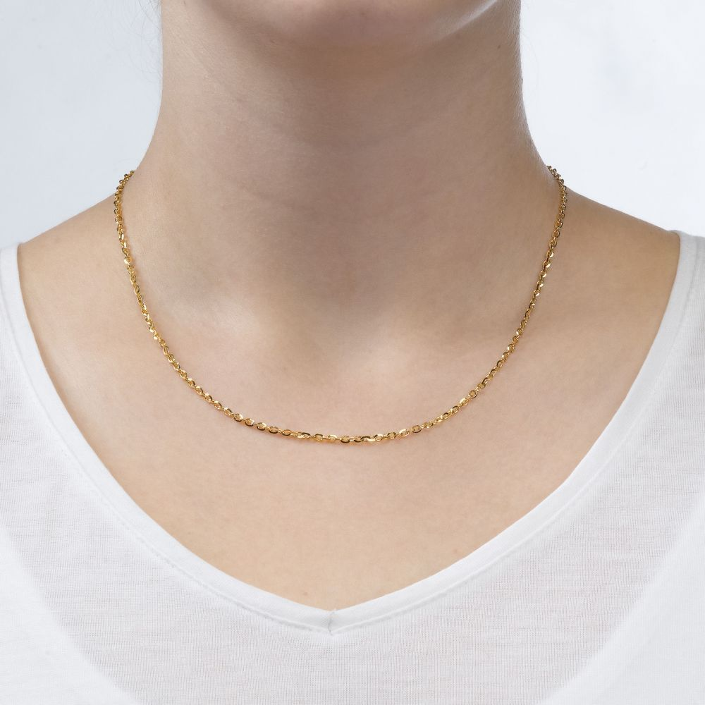 שרשראות זהב | שרשרת רולו זהב צהוב 14 קראט, 2.2 מ