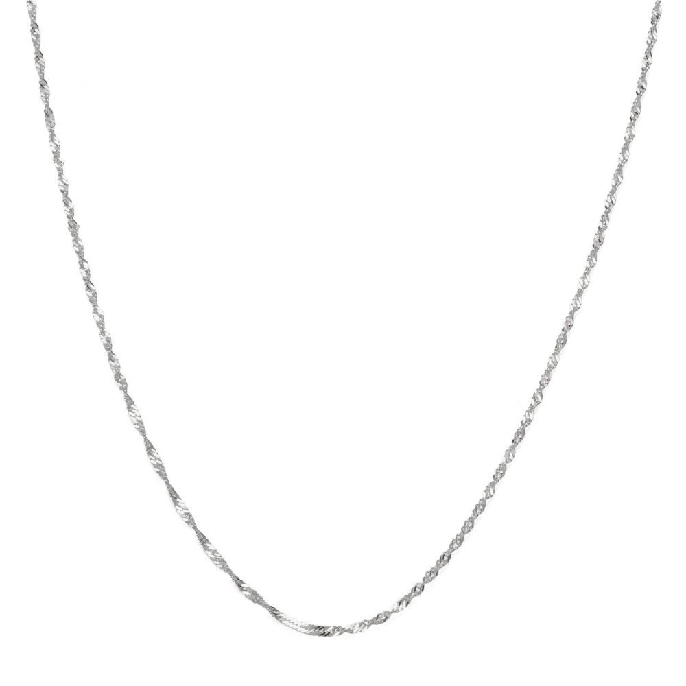 שרשראות זהב | שרשרת סינגפור זהב לבן 14 קראט, 1.2 מ