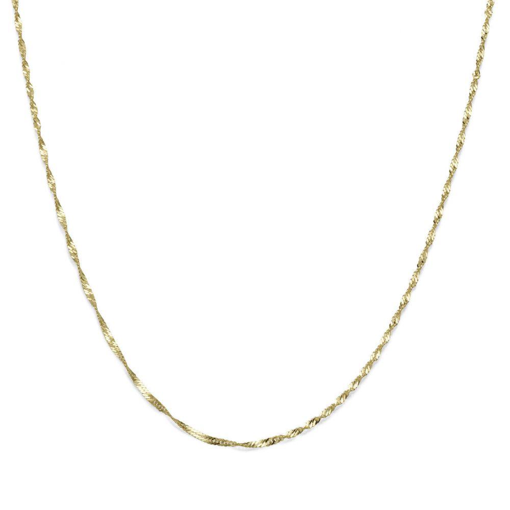 שרשראות זהב | שרשרת סינגפור זהב צהוב 1.6 מ