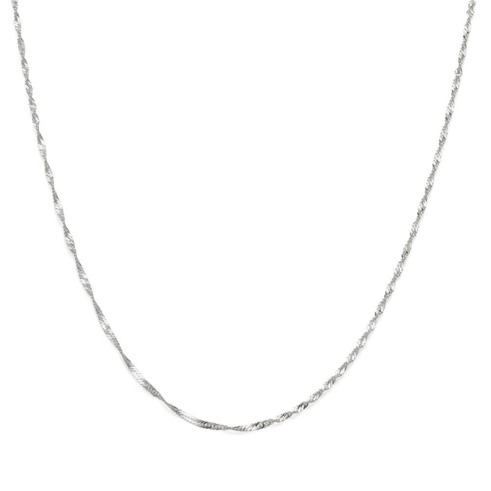 שרשראות זהב   שרשרת סינגפור זהב לבן 14 קראט, 1.6 מ