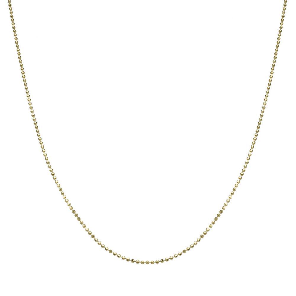 שרשראות זהב | שרשרת כדורים זהב צהוב 14 קראט, 0.9 מ