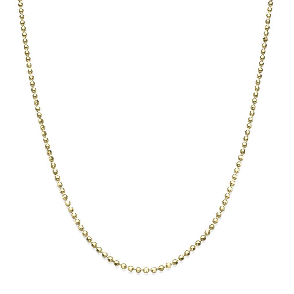 שרשראות זהב | שרשרת כדורים זהב צהוב 14 קראט, 1.4 מ
