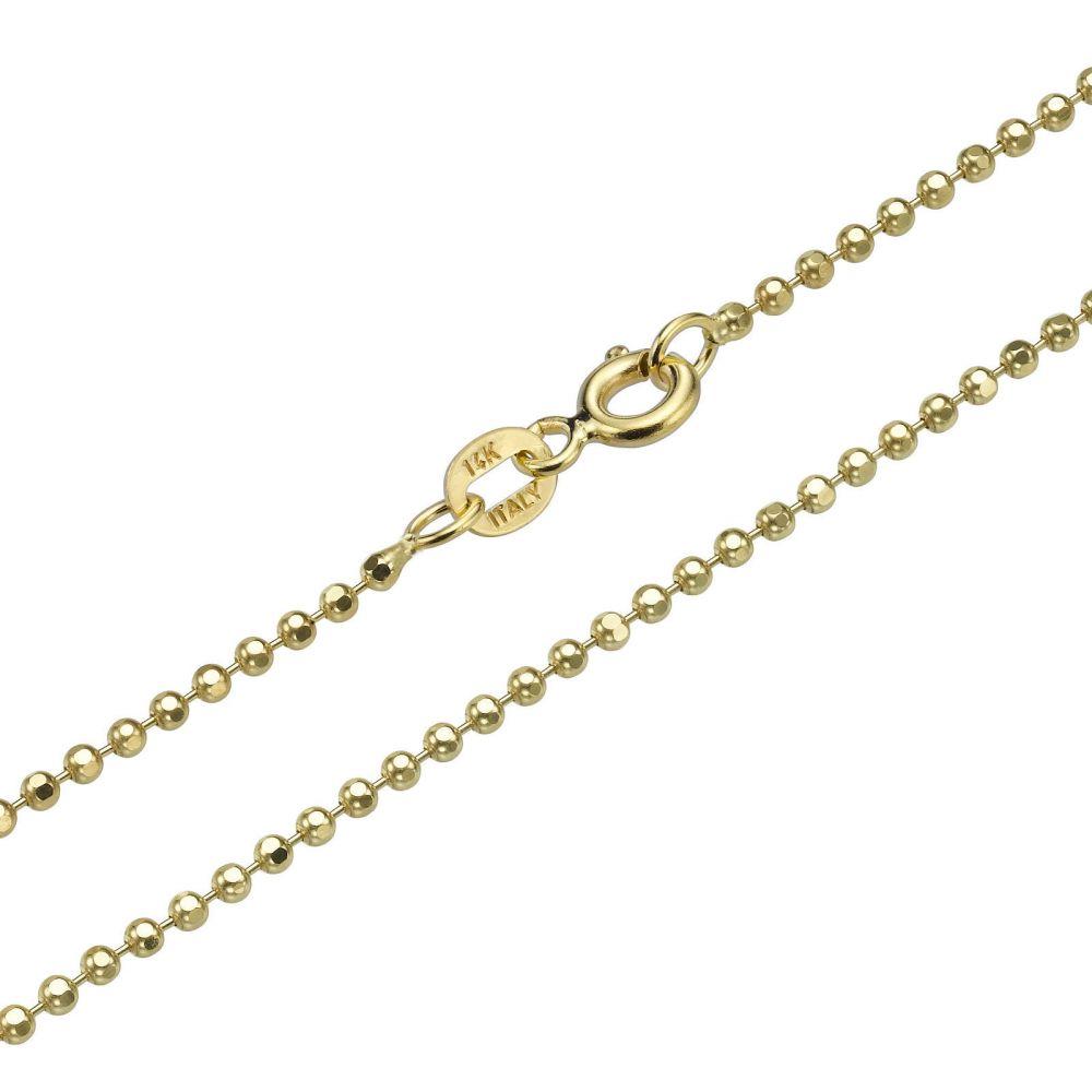 שרשראות זהב | שרשרת כדורים זהב צהוב 14 קראט, 1.8 מ