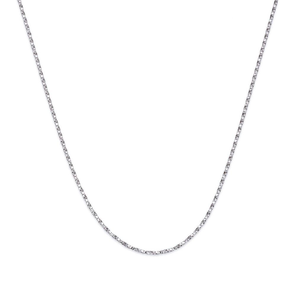 שרשראות זהב | שרשרת מסובבת זהב לבן 14 קראט, 0.6 מ