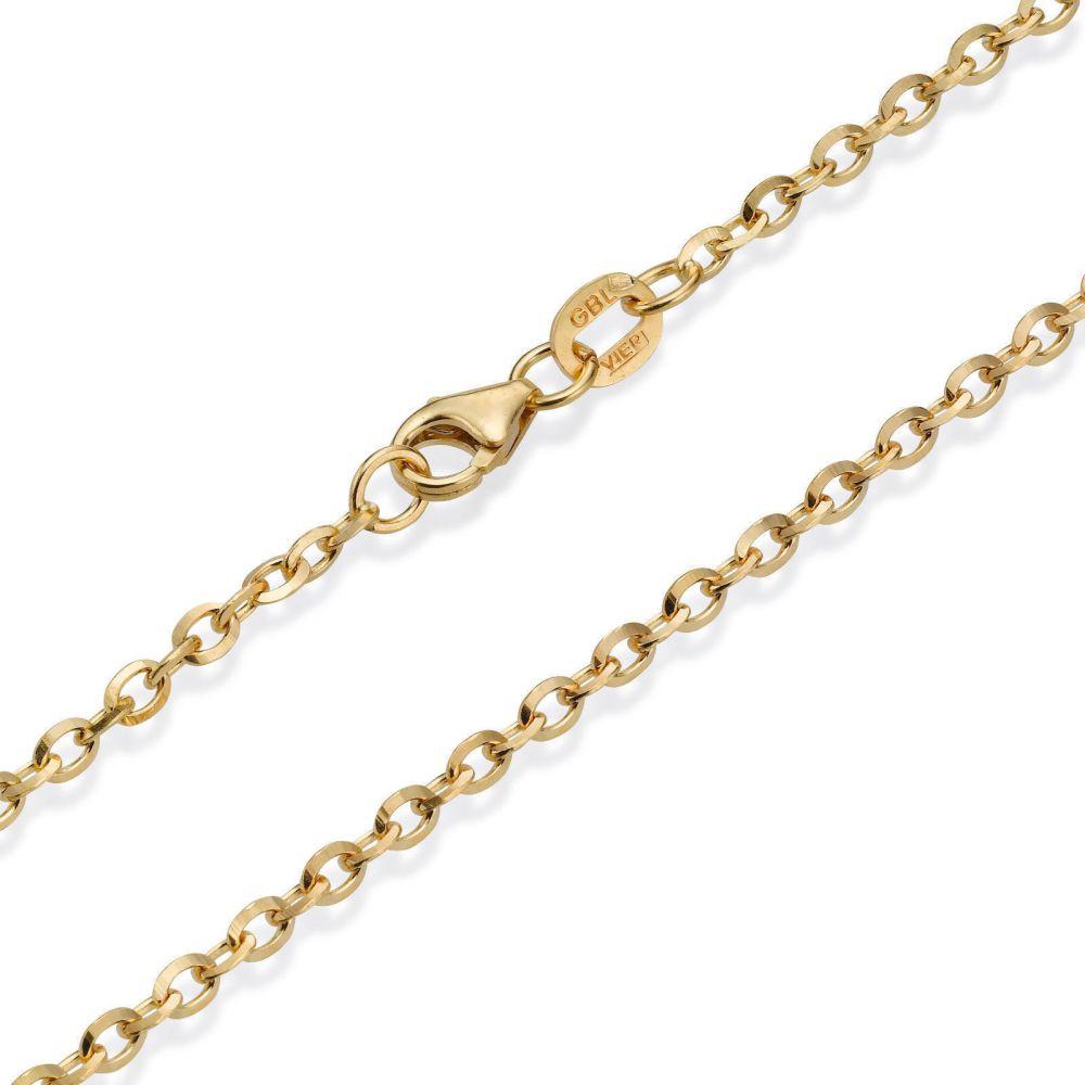 תכשיטים לגבר | שרשרת זהב צהוב 14 קראט לגברים, מדגם רולו 2.2 מ