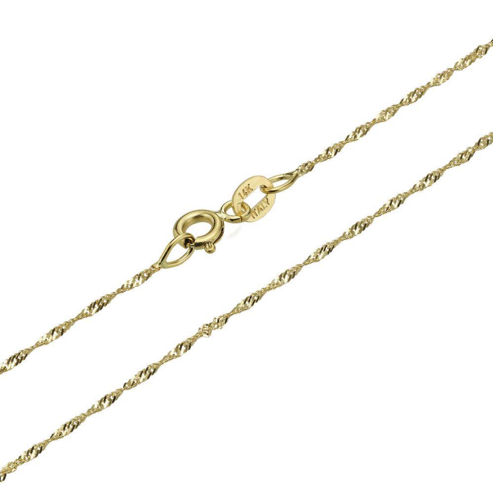 תכשיטים לגבר | שרשרת זהב צהוב 14 קראט לגברים, מדגם סינגפור 1.6 מ