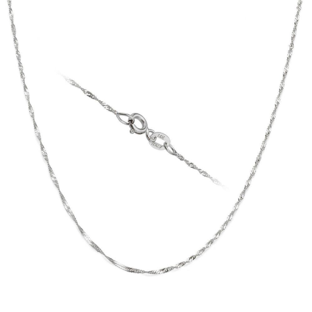 תכשיטים לגבר | שרשרת זהב לבן 14 קראט לגברים, מדגם סינגפור 1.6 מ