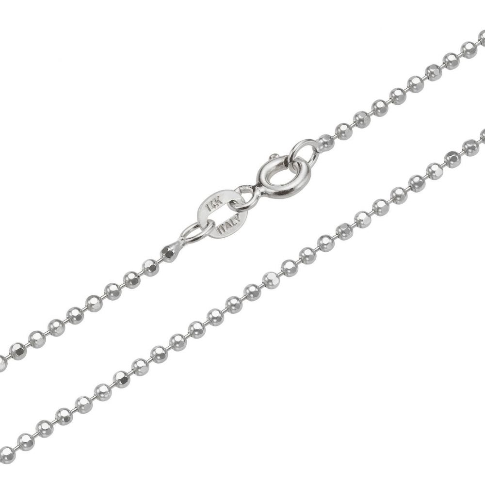 תכשיטים לגבר   שרשרת זהב לבן 14 קראט לגברים, מדגם כדורים 1.8 מ