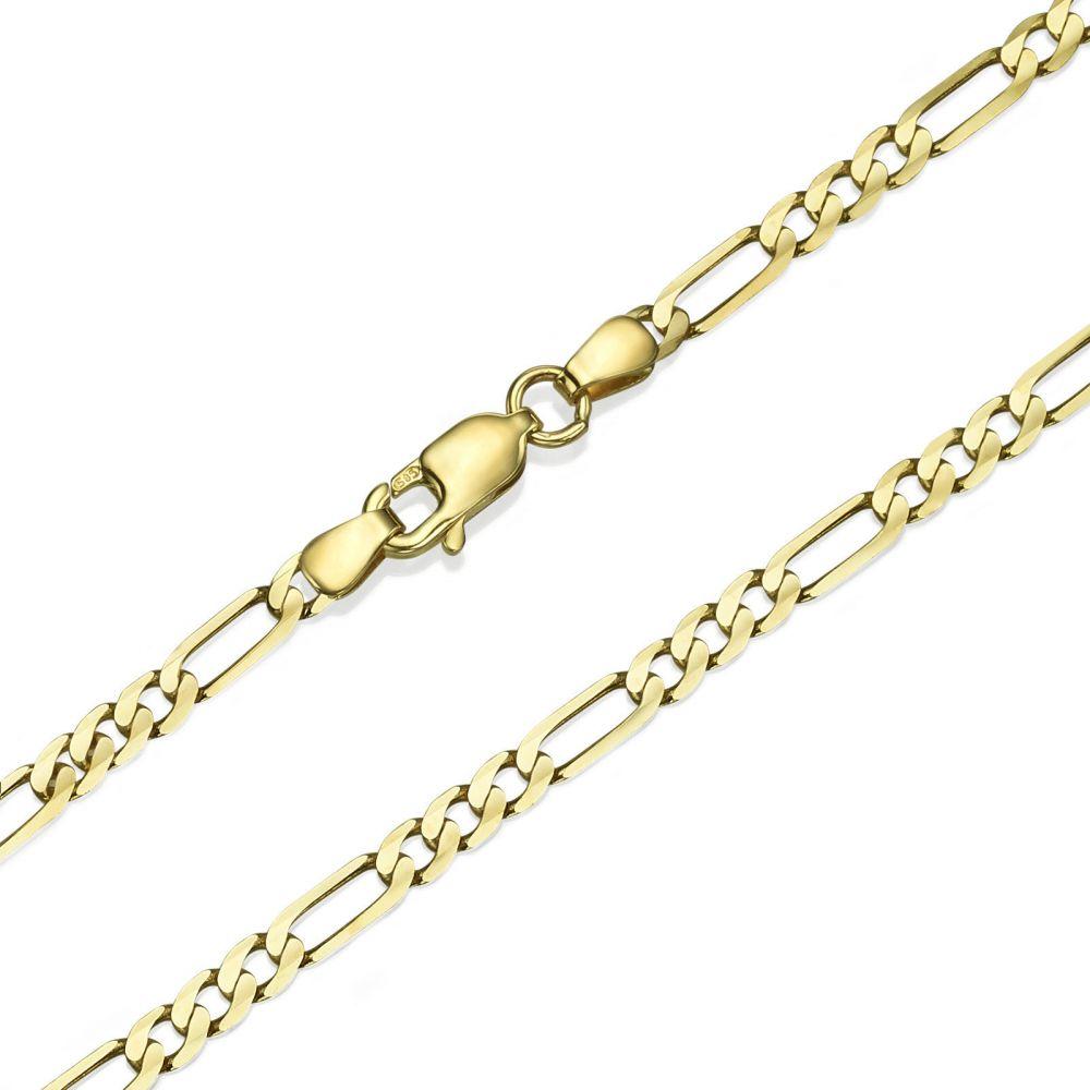 תכשיטים לגבר | שרשרת זהב צהוב 14 קראט לגבר, מדגם פיגרו 3.84 מ''מ עובי, 50 ס