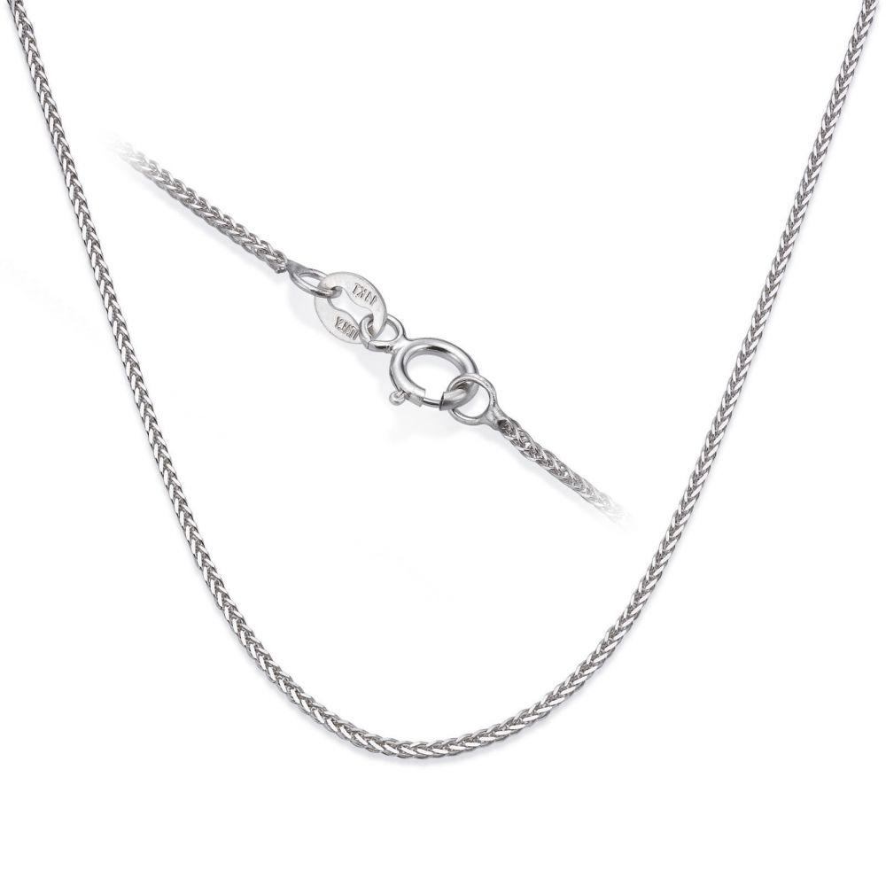 שרשראות זהב | שרשרת ספיגה זהב לבן 14 קראט, 0.8 מ