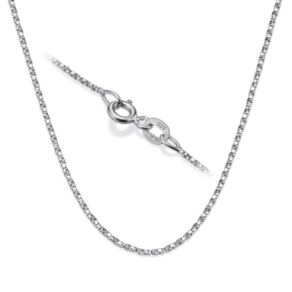 שרשראות זהב | שרשרת מסובבת זהב לבן 14 קראט, 1 מ