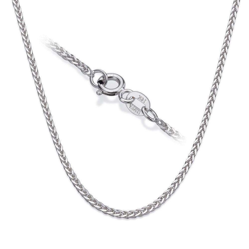 שרשראות זהב | שרשרת ספיגה זהב לבן 14 קראט, 1 מ