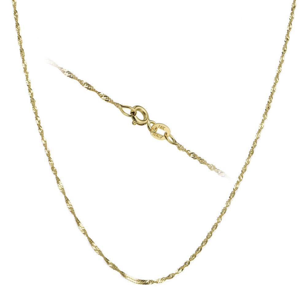 שרשראות זהב | שרשרת סינגפור זהב צהוב 14 קראט, 1.2 מ