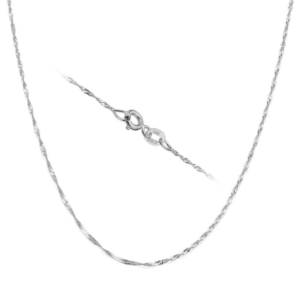 שרשראות זהב | שרשרת סינגפור זהב לבן 14 קראט, 1.6 מ