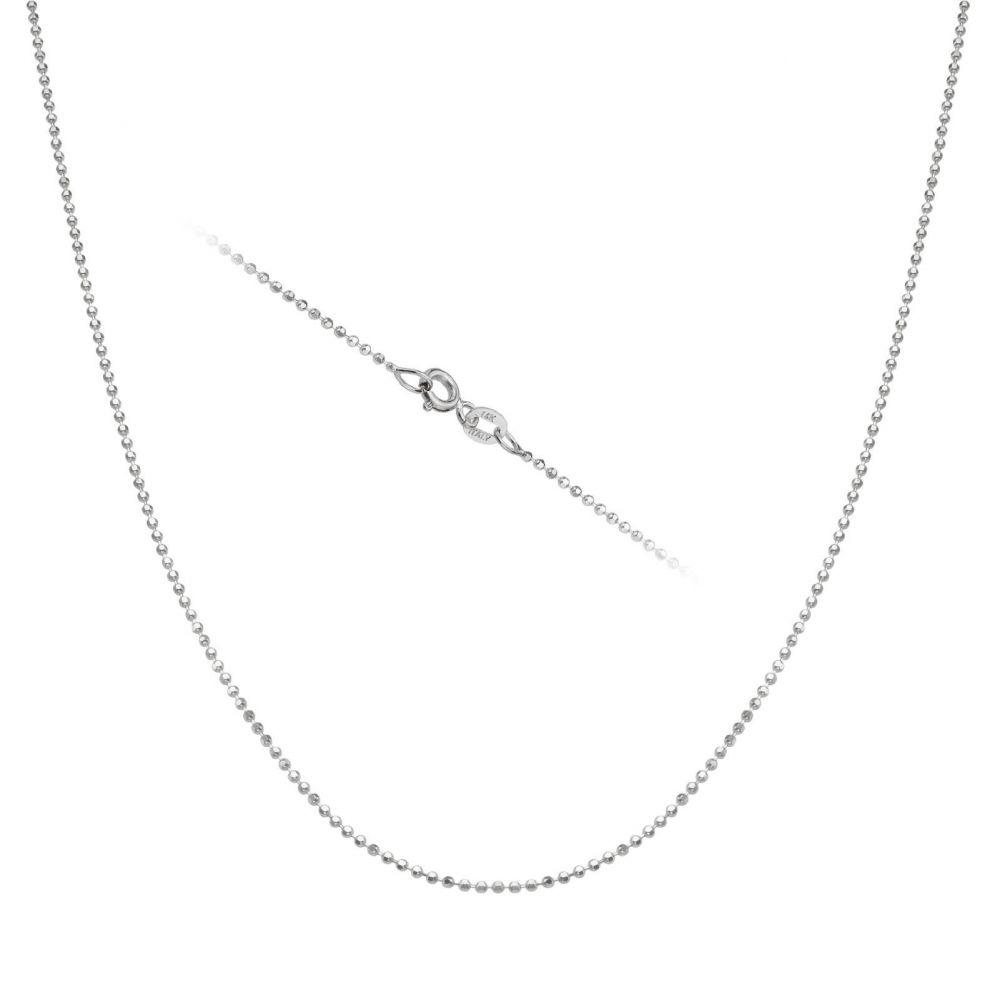 שרשראות זהב | שרשרת כדורים זהב לבן 14 קראט, 0.9 מ