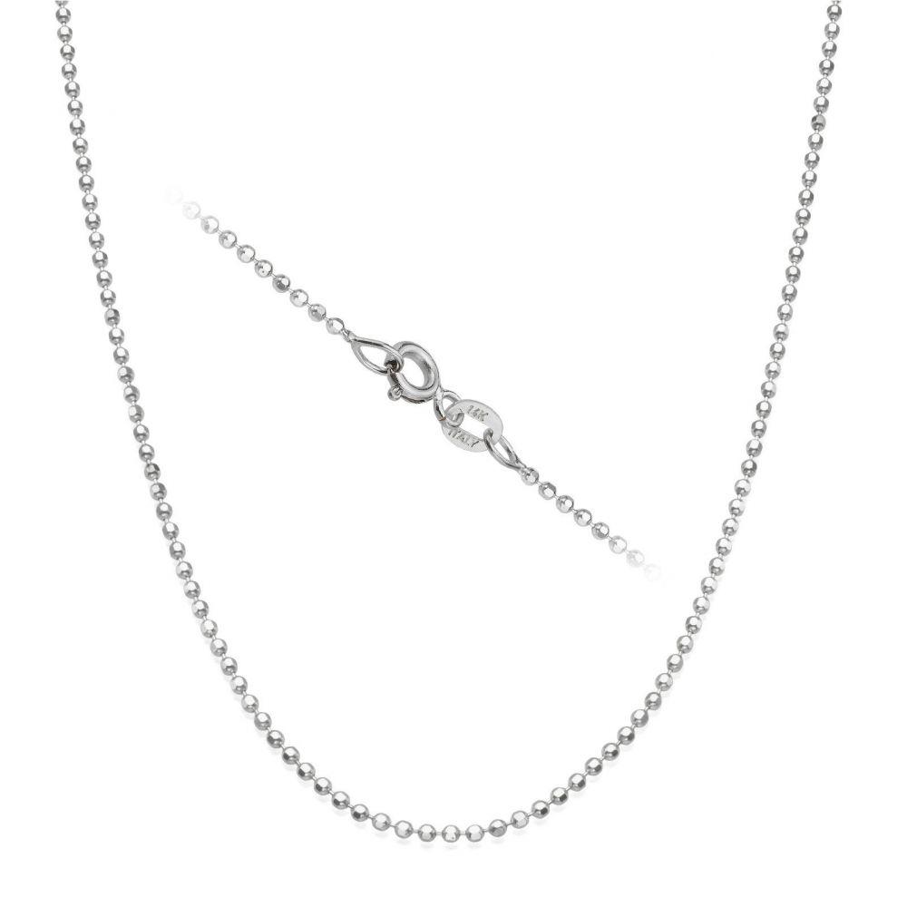 שרשראות זהב | שרשרת כדורים זהב לבן 14 קראט, 1.4 מ