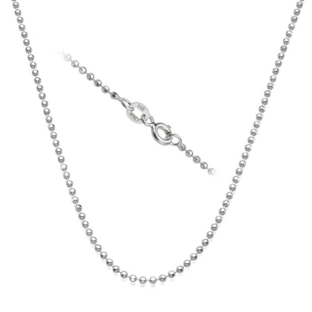 שרשראות זהב | שרשרת כדורים זהב לבן 14 קראט, 1.8 מ