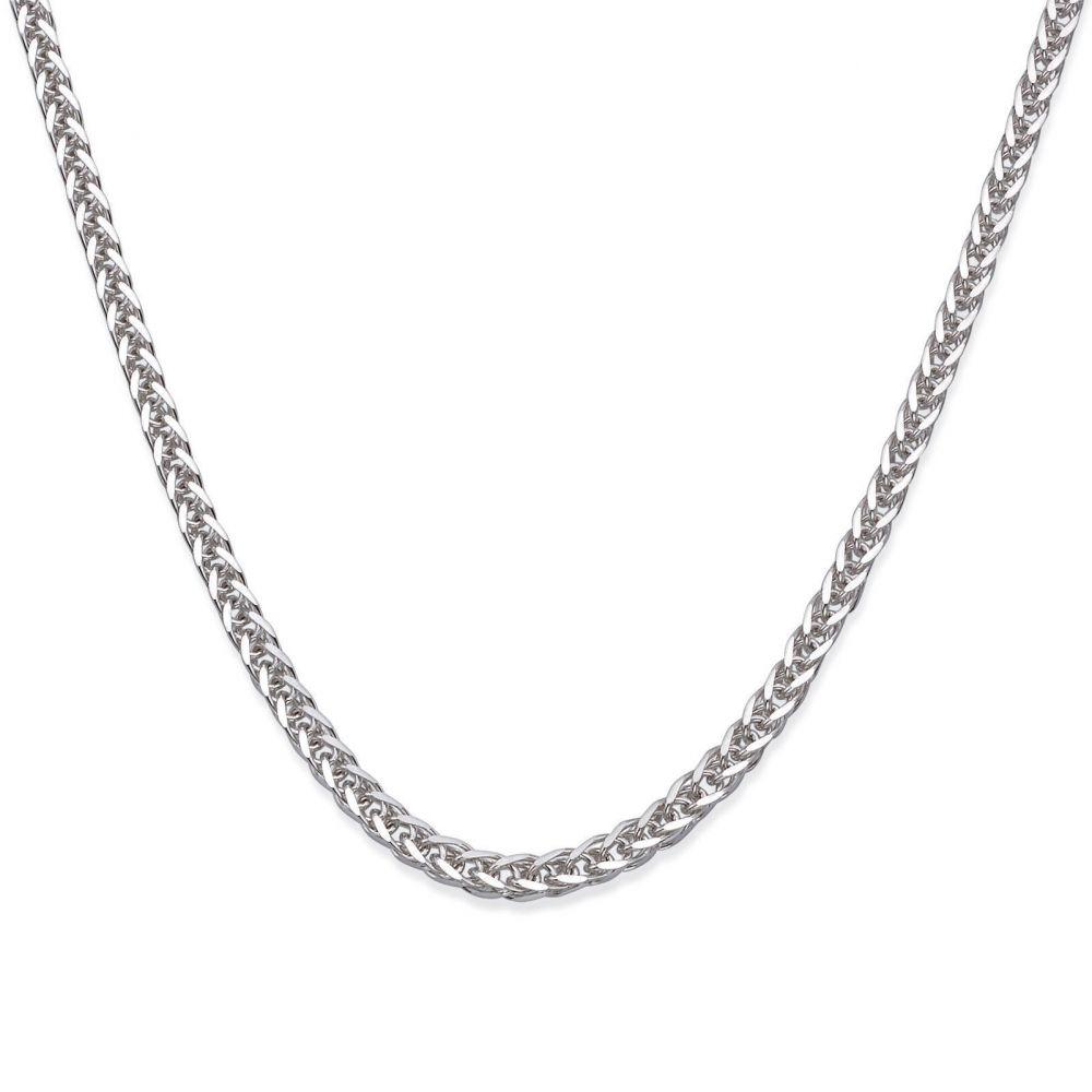 תכשיטים לגבר | שרשרת זהב לבן 14 קראט לגברים, מדגם ספיגה 1.5 מ