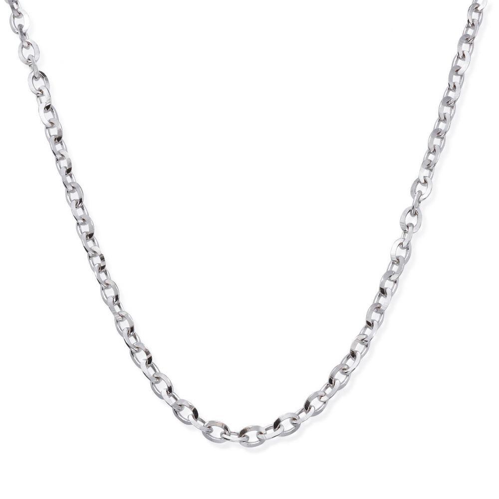 תכשיטים לגבר   שרשרת זהב לבן 14 קראט לגברים, מדגם רולו 2.2 מ