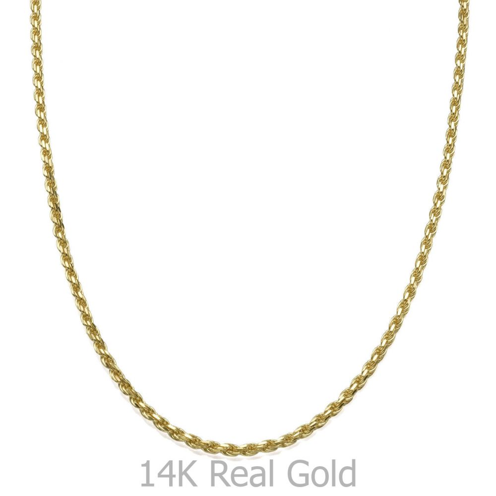 תכשיטים לגבר | שרשרת זהב צהוב 14 קראט לגברים, מדגם חבל 1.9 מ
