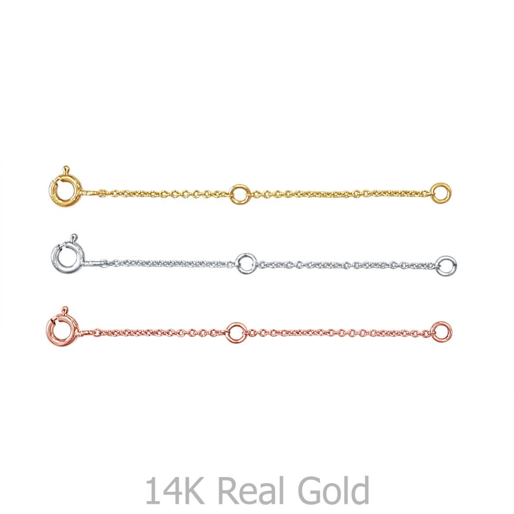 שרשראות זהב | שרשרת הארכה מזהב צהוב 14 קראט - 6 ס''מ