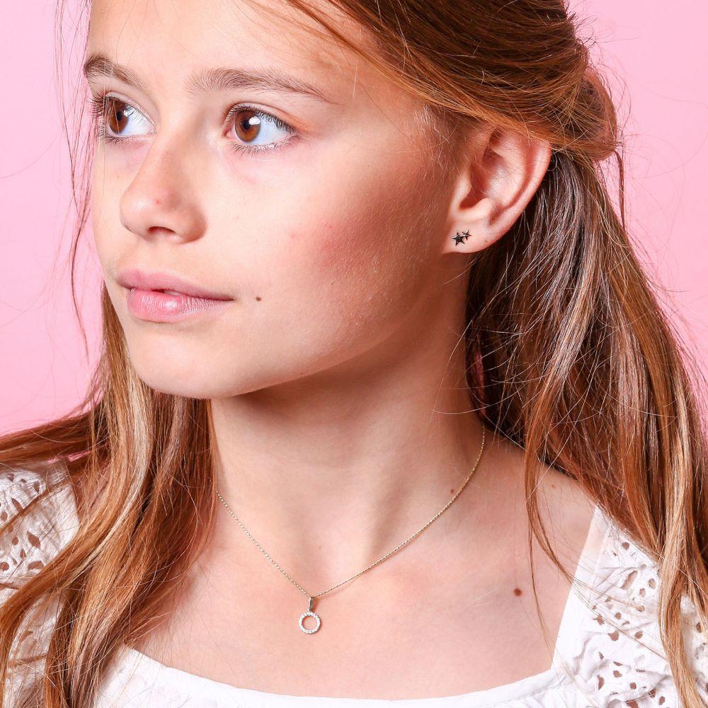 תכשיטים מזהב לילדות | עגילים צמודים מזהב צהוב ולבן 14 קראט - כוכב בשני צבעים