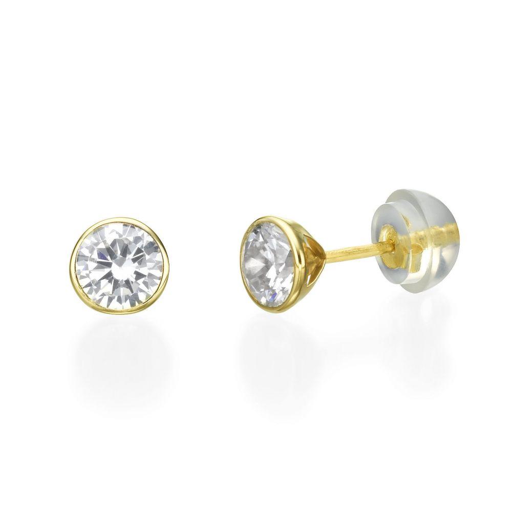 תכשיטים מזהב לילדות | עגילים צמודים מזהב צהוב 14 קראט - עיגול מוניקה