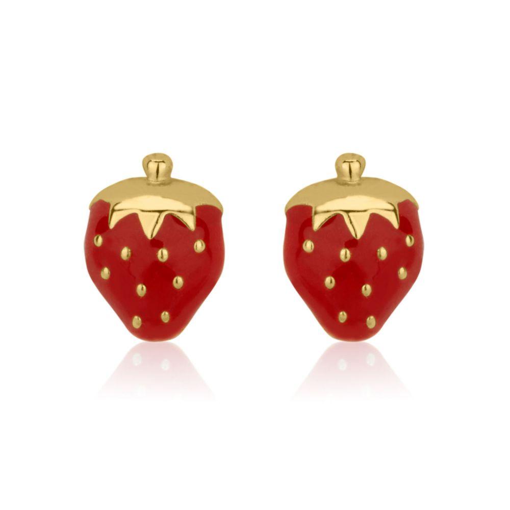 תכשיטים מזהב לילדות | עגילים צמודים מזהב צהוב 14 קראט - תות מתוק