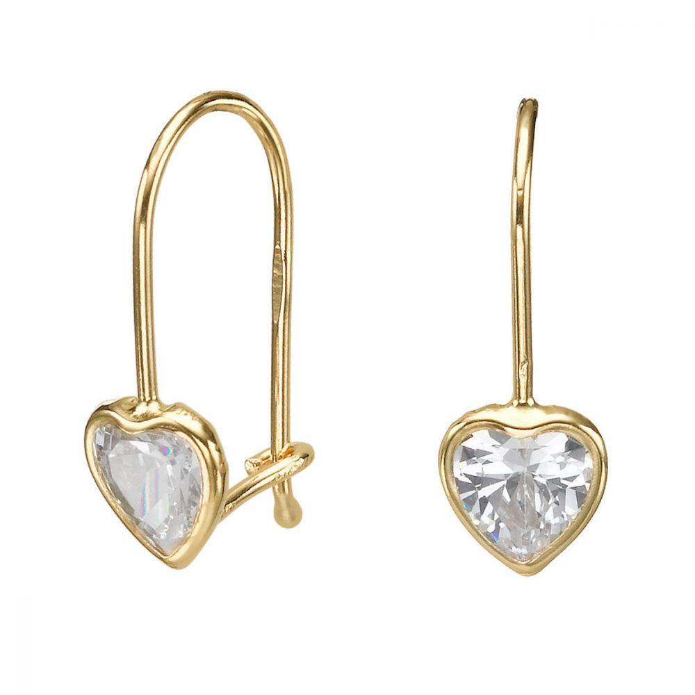 עגילי זהב | עגילים תלויים מזהב צהוב 14 קראט - לב מישגן