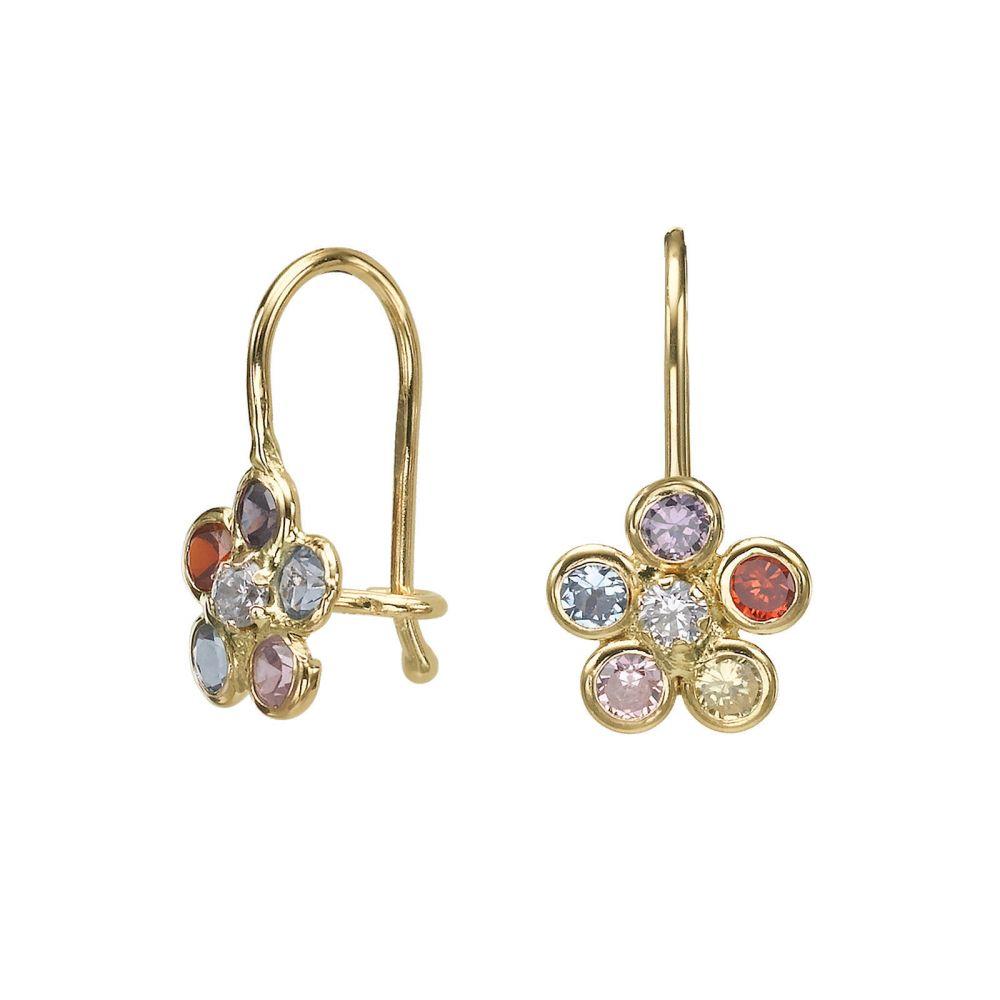 עגילי זהב | עגילים תלויים מזהב צהוב 14 קראט - פרח מיכלי