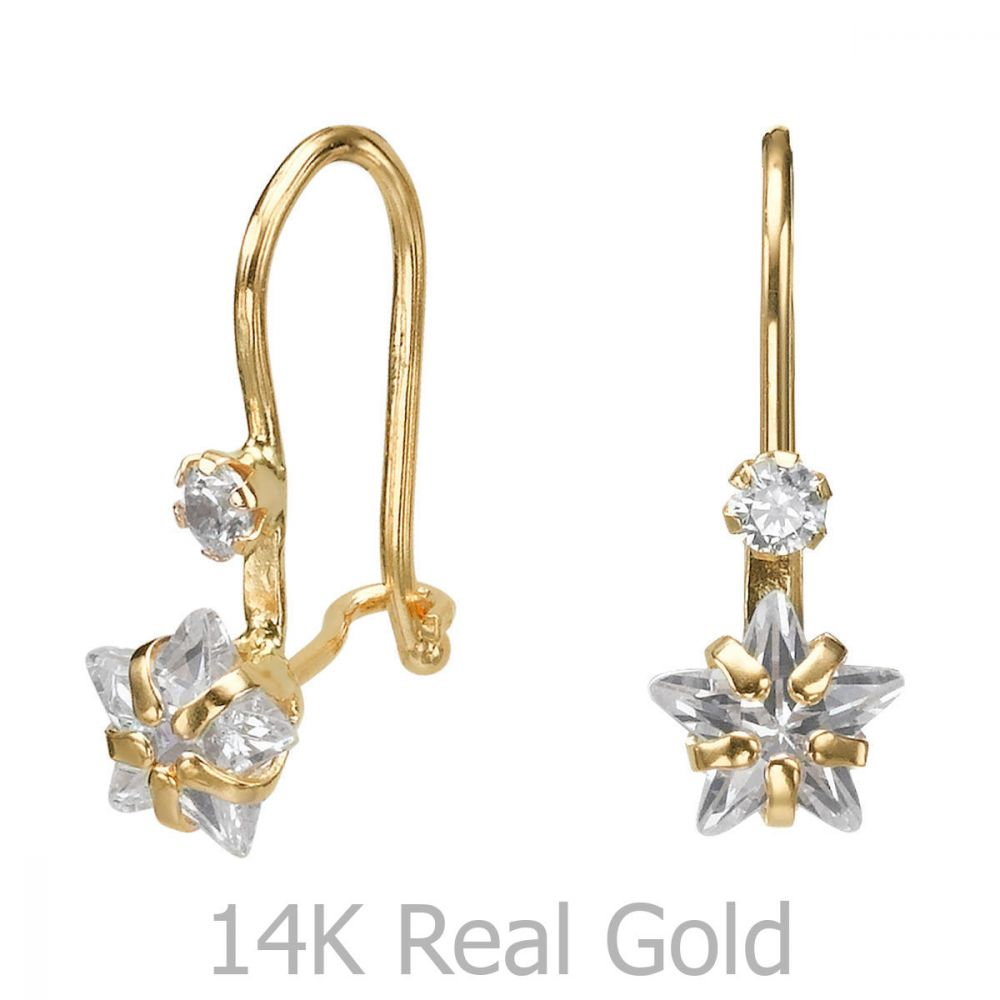 תכשיטים מזהב לילדות | עגילים תלויים מזהב צהוב 14 קראט - כוכב אורנוס