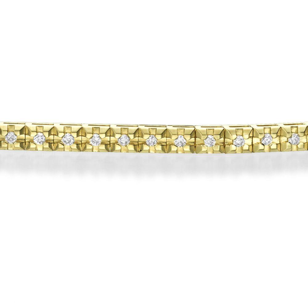 תכשיטי יהלומים | צמיד טניס יהלומים פירמידה מזהב צהוב 14 קראט - קייט