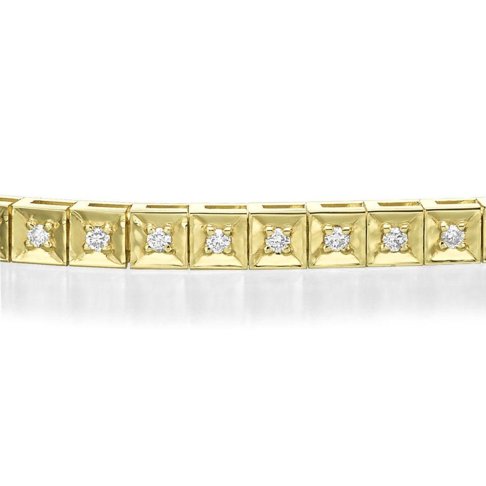 תכשיטי יהלומים | צמיד טניס יהלומים שוקולד מזהב צהוב 14 קראט - ג'ניפר