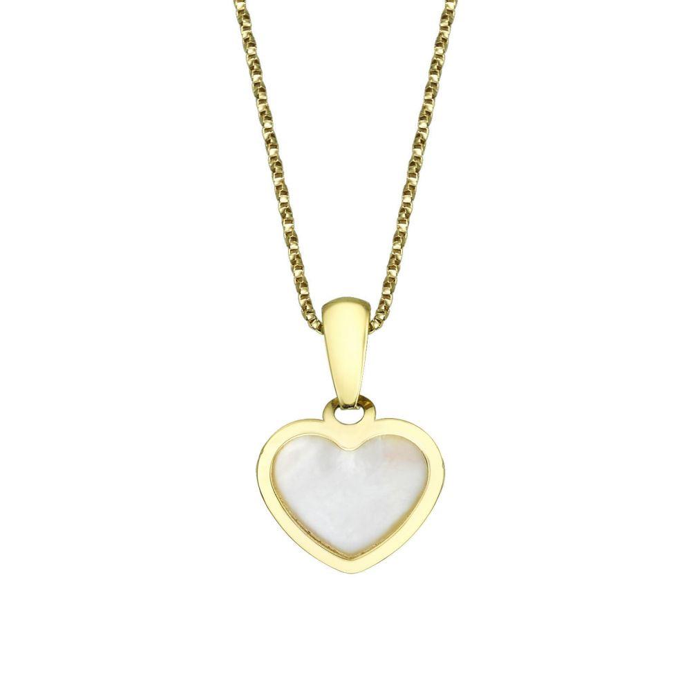 תכשיטים מזהב לילדות   תליון ושרשרת מזהב צהוב - לב הצדף