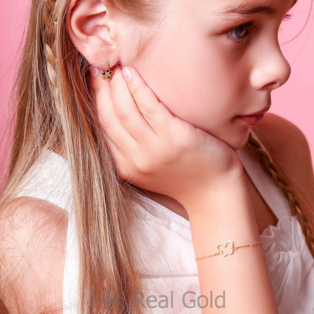 תכשיטים מזהב לילדות | צמיד לילדה מזהב צהוב 14 קראט - פרפר זוהר