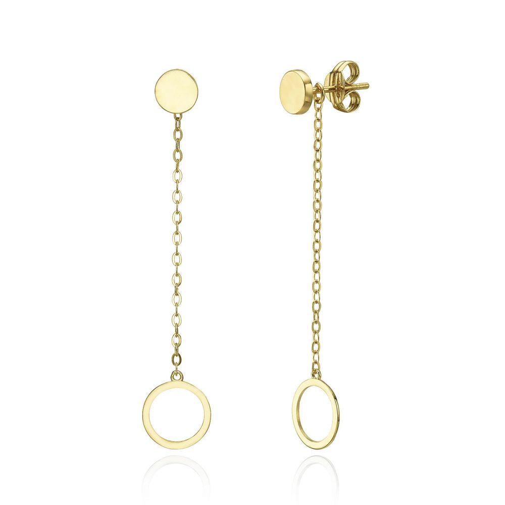 תכשיטי זהב לנשים | עגילים תלויים ארוכים מזהב צהוב 14 קראט - טבעות אולימפיות