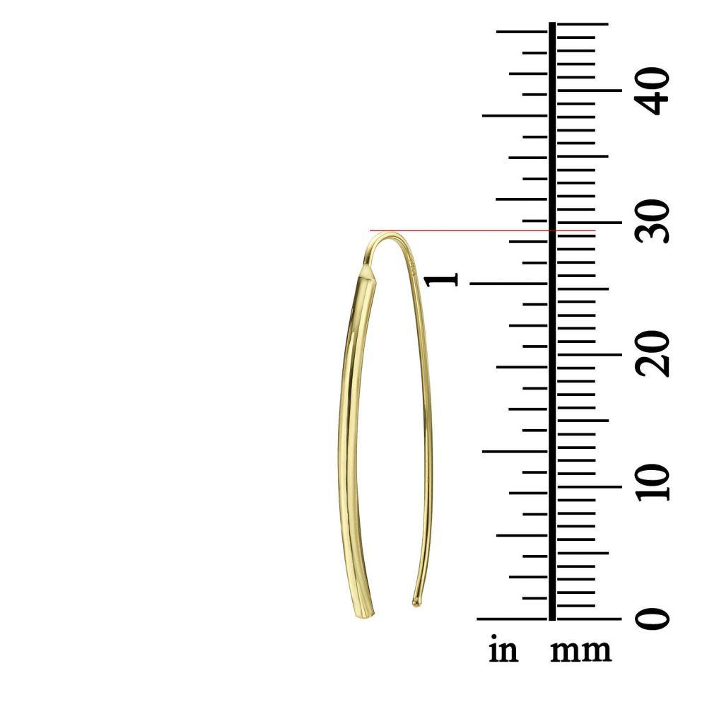 תכשיטי זהב לנשים | עגילים תלויים ארוכים מזהב צהוב 14 קראט - צינורות זהב