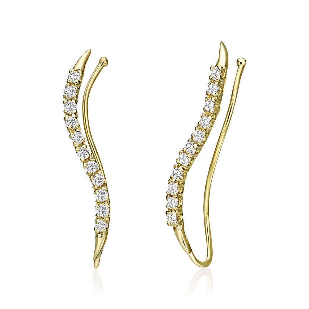 תכשיטי זהב לנשים | עגילים מטפסים מזהב צהוב 14 קראט - קסיופאה