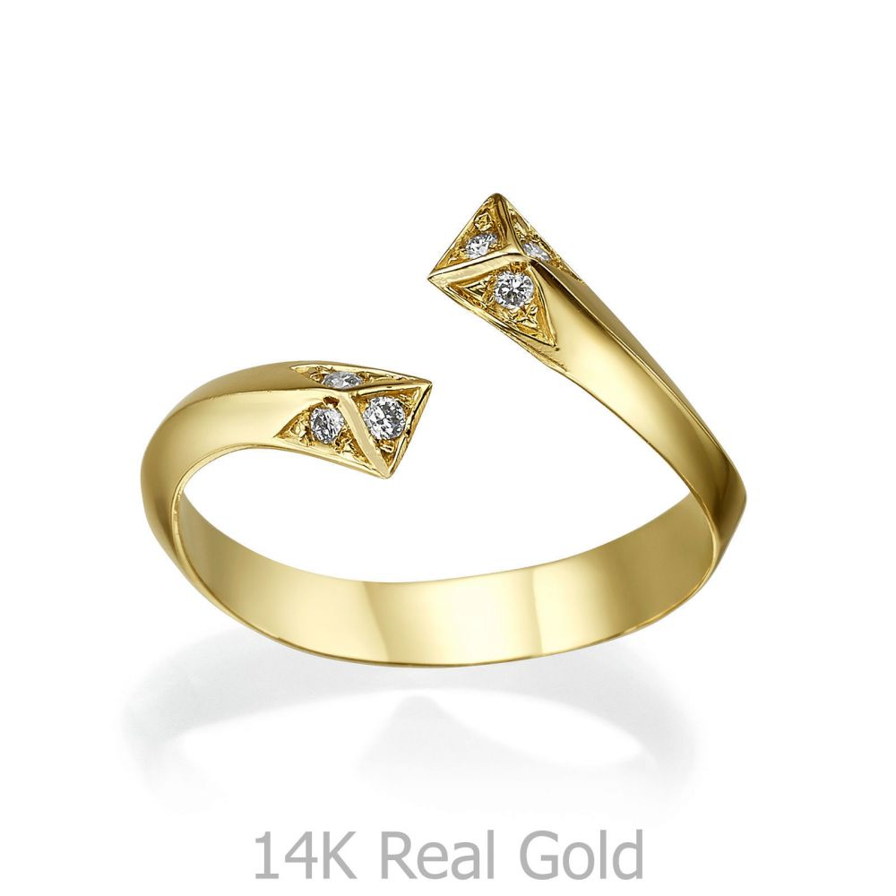 תכשיטי יהלומים | טבעת יהלום מזהב צהוב 14 קראט - אפרודיטה