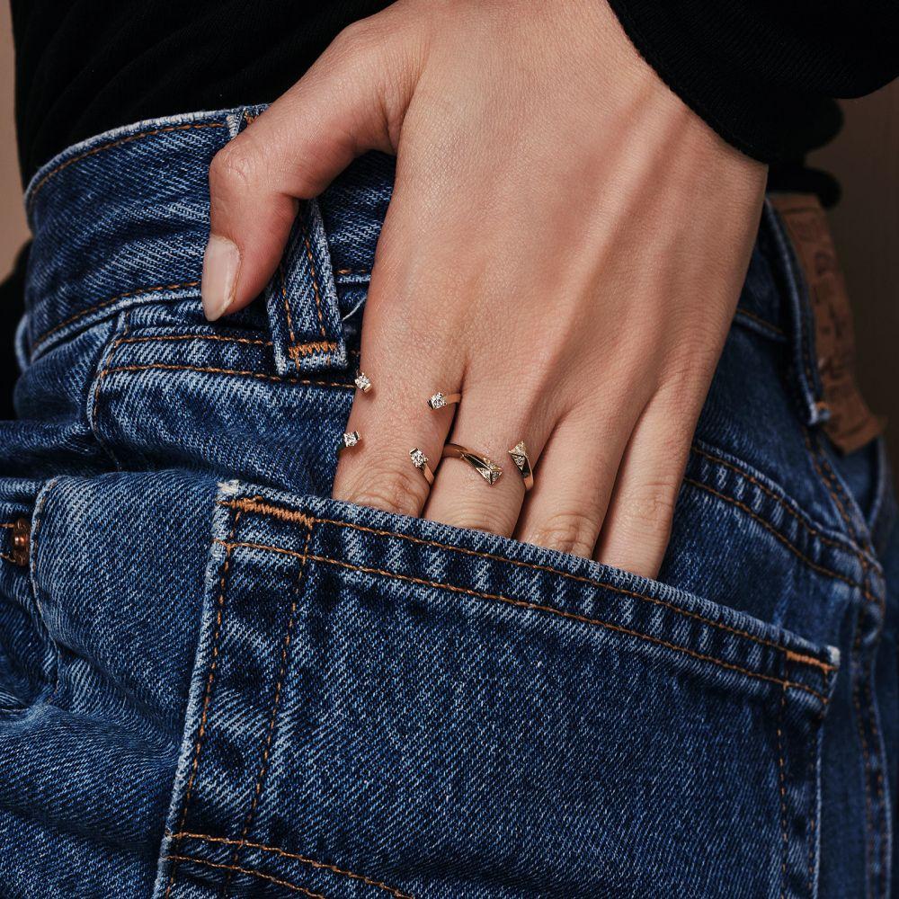 תכשיטי יהלומים | טבעת יהלום מזהב צהוב 14 קראט - אורורה